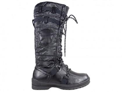 Schwarze flache Schuhe Damenstiefel aus Polyethylen - 1