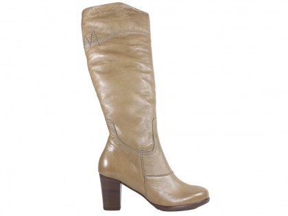 Beige women's boots on a post comfortable - 1