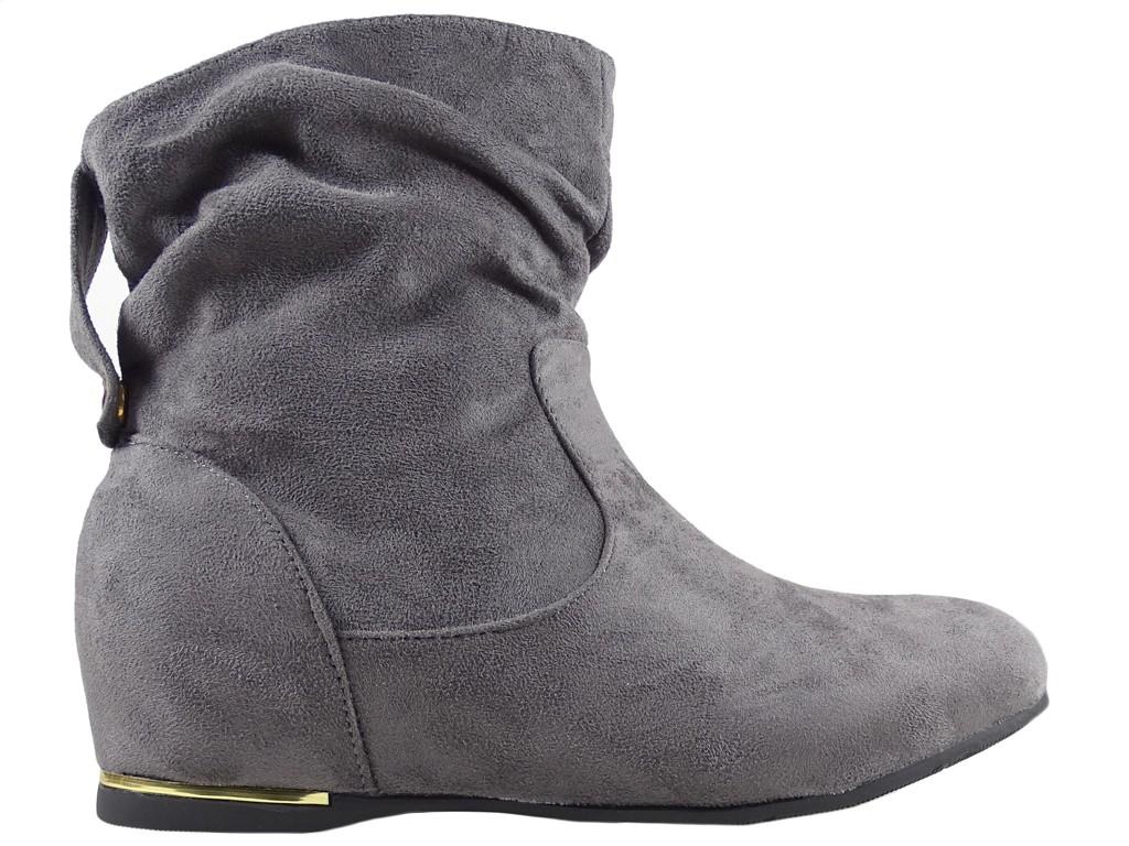 Graue Stiefeletten flache Schuhe für den Knöchel - 1