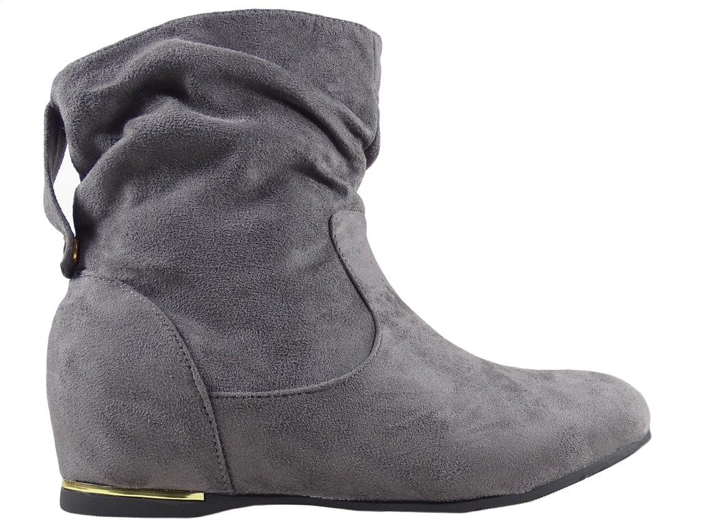 Grey women's flat boots for the ankle - 1