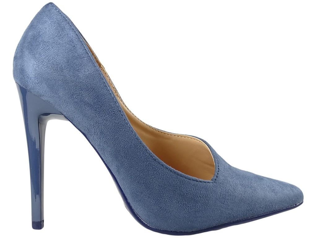 Dark blue classic female suede pins - 1