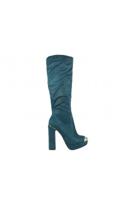 Kozaki damskie na słupku zamszowe buty
