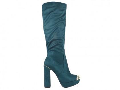 Női csizma az oszlopon velúr cipővel - 1