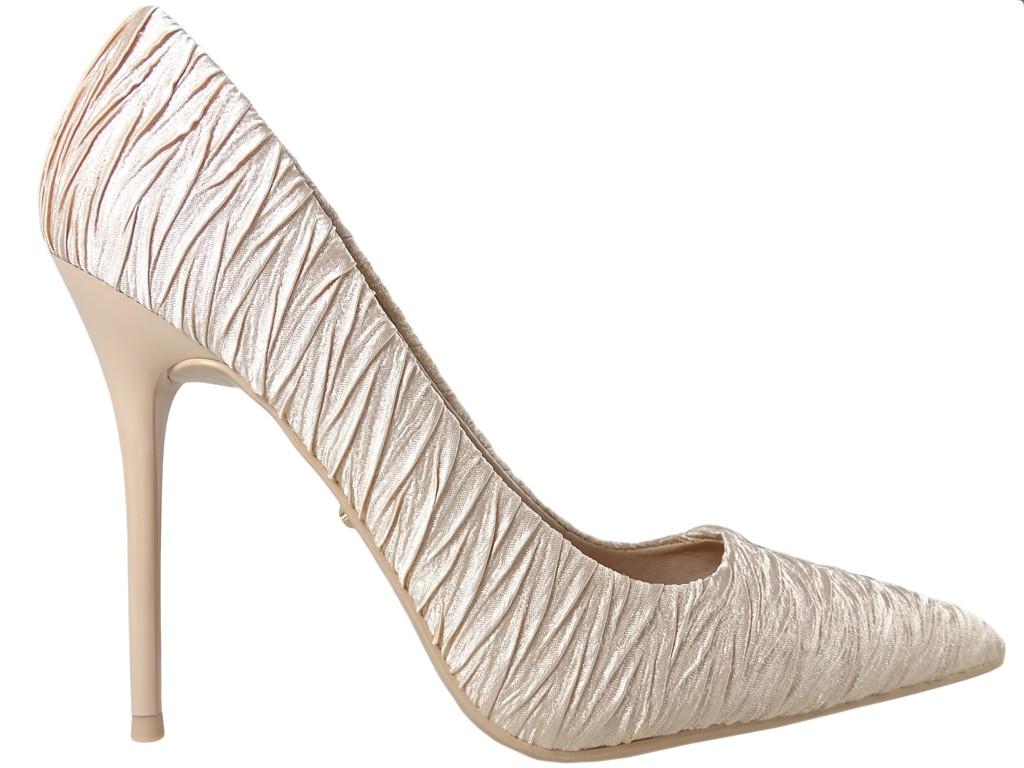 Gold High Heels Schuhe Damen Hochzeitsschuhe - 1