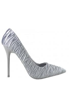 Atłasowe szare szpilki modne buty damskie