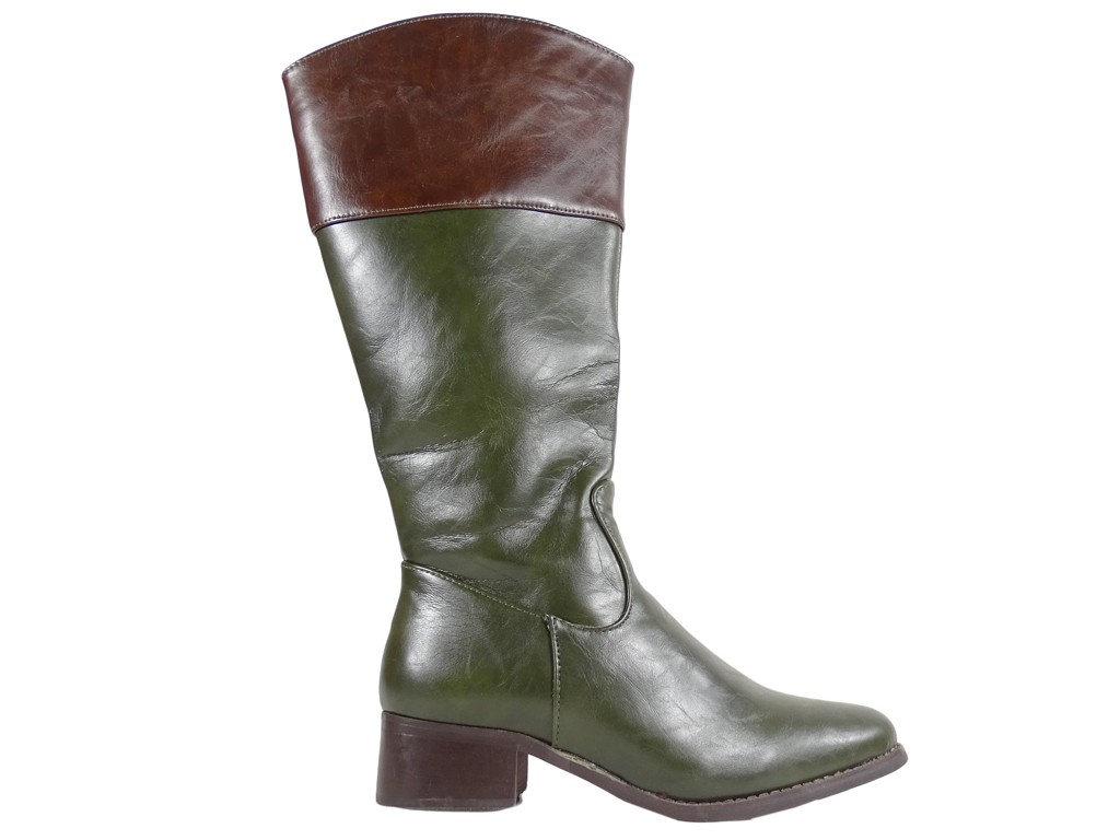 Green ladies' boots low heel - 1