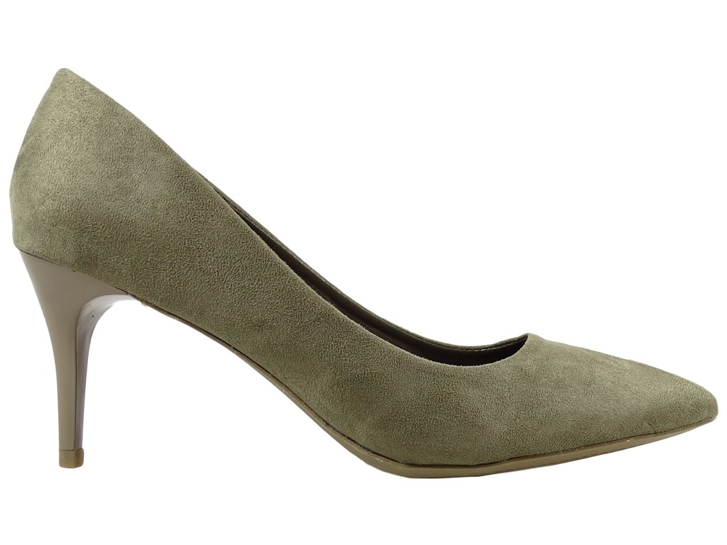 Low olive-coloured suede pins - 1