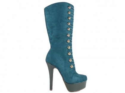 Ladies' boots on the platform green suede - 1