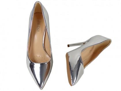 Lustrzane szpilki srebrne klasyczne buty damskie