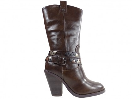 Brown eco boots leather in comfortable heels - 1