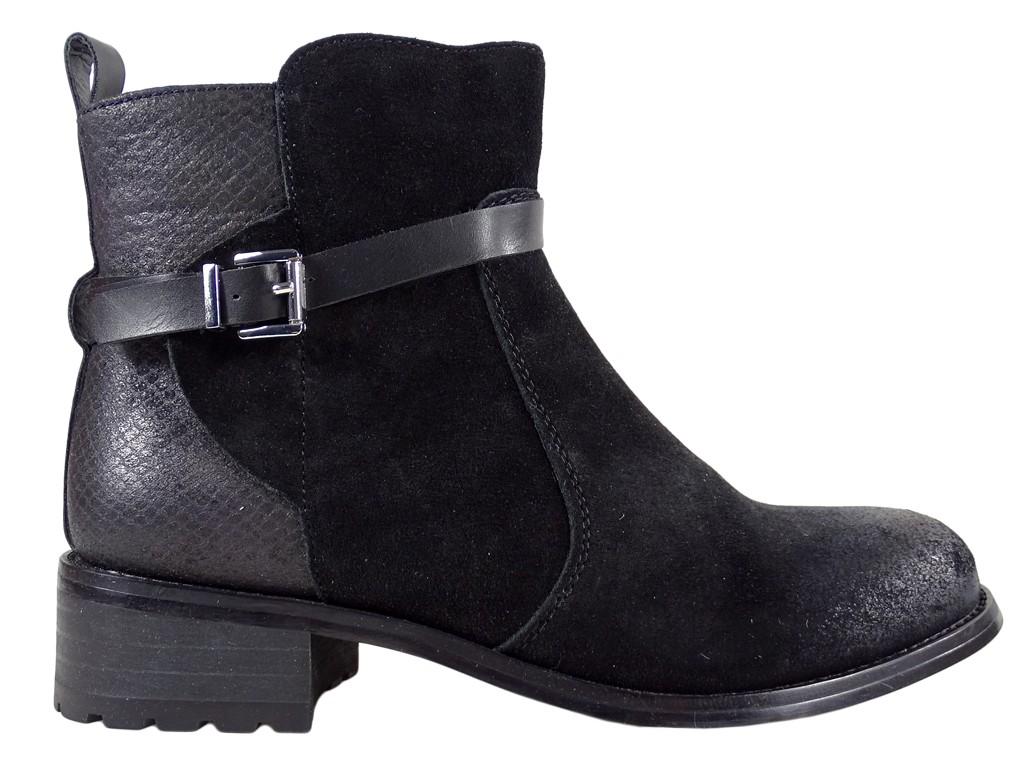Ladies' daggers black suede leather - 1