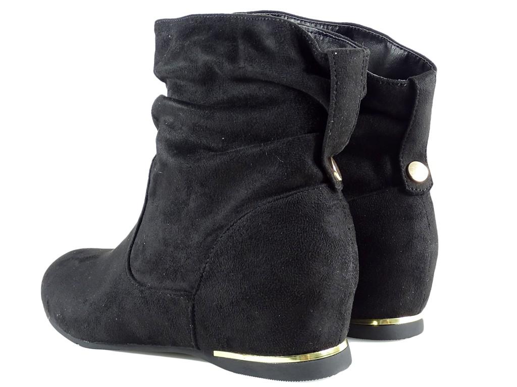 Czarne botki płaskie buty damskie zamszowe KOKIETKI