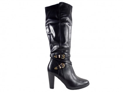 Ladies' black leather boots with belt - 1