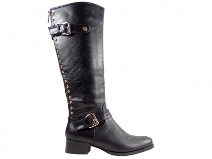 Black flat boots eco leather officer studs - 1