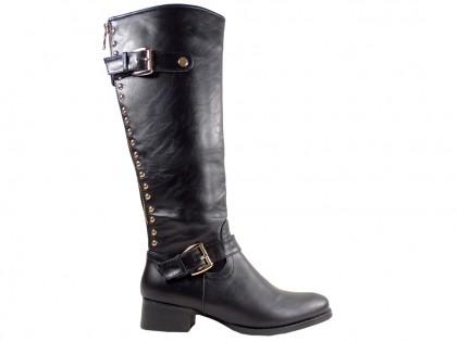 Schwarze flache Stiefel Öko-Lederstiefel Nieten - 1