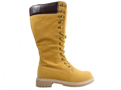 Damenstiefel beige flache Schuhe - 1