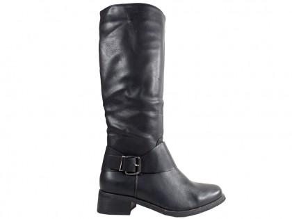 Flat black female officer boots - 1