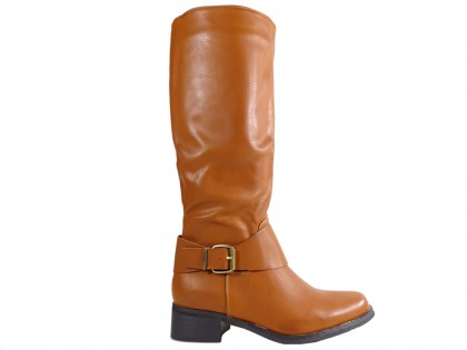 Brown ladies' boots low eco leather - 1