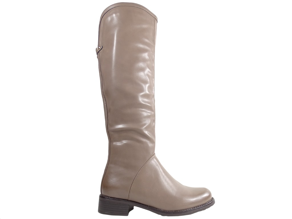 Women's low boots, light beige leather - 1
