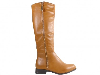 Women's flat boots before the knee brown - 1