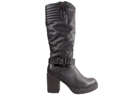 Black ladies' boots on a comfortable post - 1
