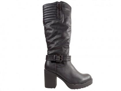 Fekete női csizma kényelmes oszlopon - 1