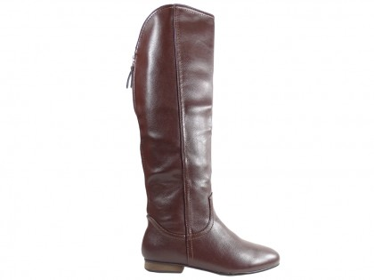 Flat ladies' boots eco leather brown - 1