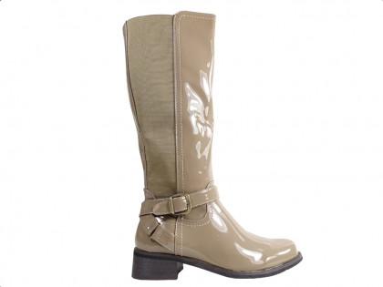 Beige women's boots before the knee - 1