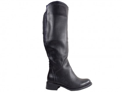 Black ladies' eco leather boots to the knee - 1