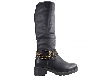 Women's eco leather boots with dagger studs - 1