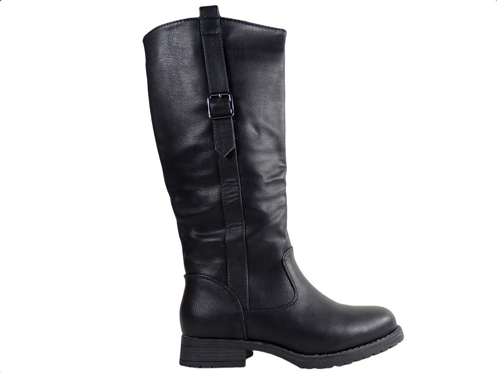 Black ladies boots eco leather flat heel - 1