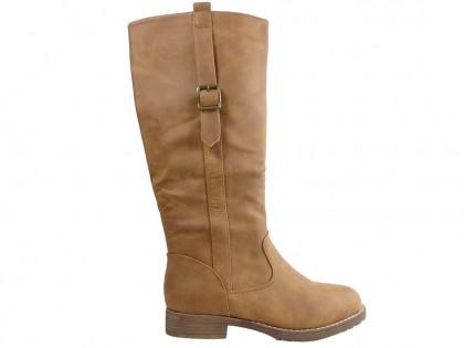 Damen flache Stiefel beige Öko-Leder - 1