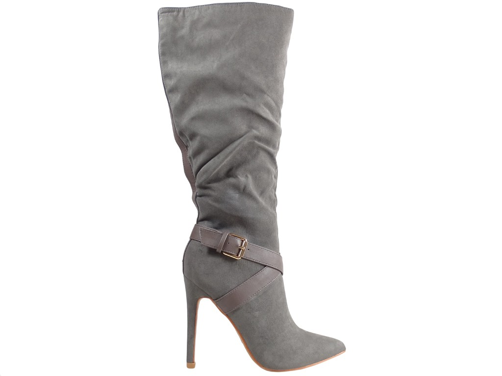 Tall ladies' boots on gray pins - 1
