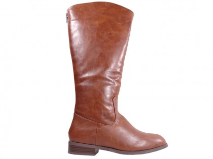 Flat brown ladies' eco leather boots - 1