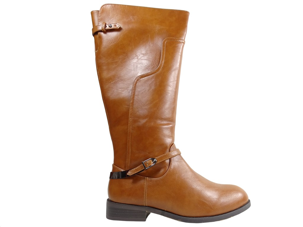 Flat ladies' eco-friendly brown leather boots - 1