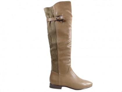 Beige Damen flache Stiefel Öko-Leder mit Wildleder - 1