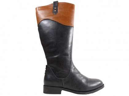 Flat black women's eco leather boots - 1