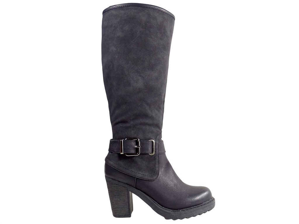 Black ladies' boots on the suede pole with eco leather - 1