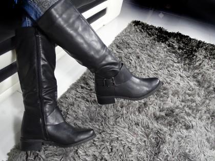 Flat black female officer boots - 2