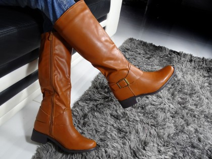 Brown ladies' boots low eco leather - 2