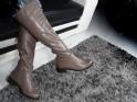 Women's low boots, light beige leather - 2
