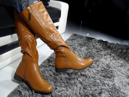 Women's flat boots before the knee brown - 2
