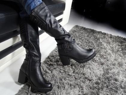 Fekete női csizma kényelmes oszlopon - 2