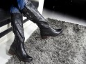 Black ladies' flat boots comfortable in leather - 2