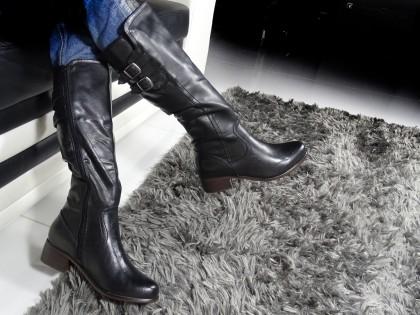Schwarze bequeme Lederstiefel für Damen - 2