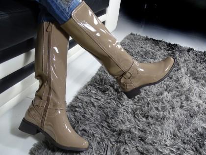 Beige women's boots before the knee - 2