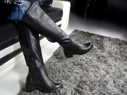 Black ladies' eco leather boots to the knee - 2