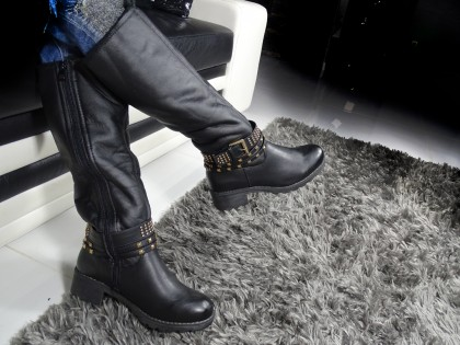 Women's eco leather boots with dagger studs - 2