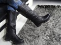 Black ladies boots eco leather flat heel - 2