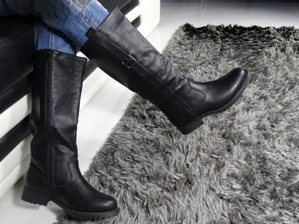 Schwarzer Damenstiefel mit flachem Absatz aus Öko-Leder - 2